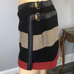 Gucci Stripped Black Wool Miniskirt,Sz.40,Excellen